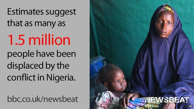 """Woman and child and words reading: """"Estimates suggest that as many as 1.5 million people have been displaced by the conflict in Nigeria."""""""