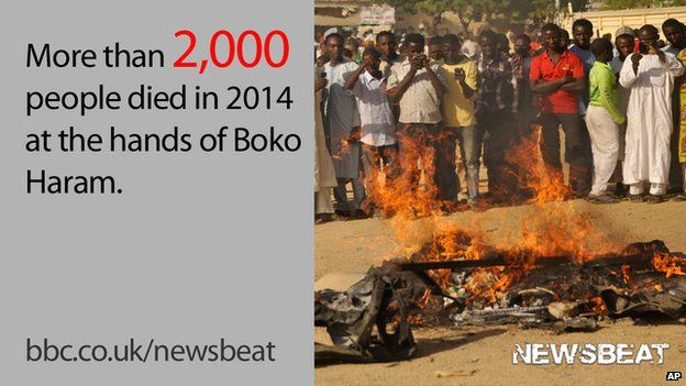 """People standing by an explosion and words reading: """"More than 2,000 people died in 2014 at the hands of Boko Haram."""""""
