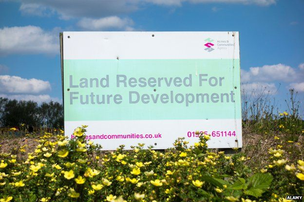 """Sign reads """"land reserved for future development"""""""