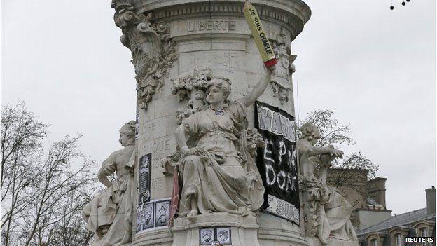 Statue in Place de la Republique, Paris, 12 January 2015