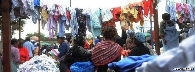Second-hand clothes market in Nairobi