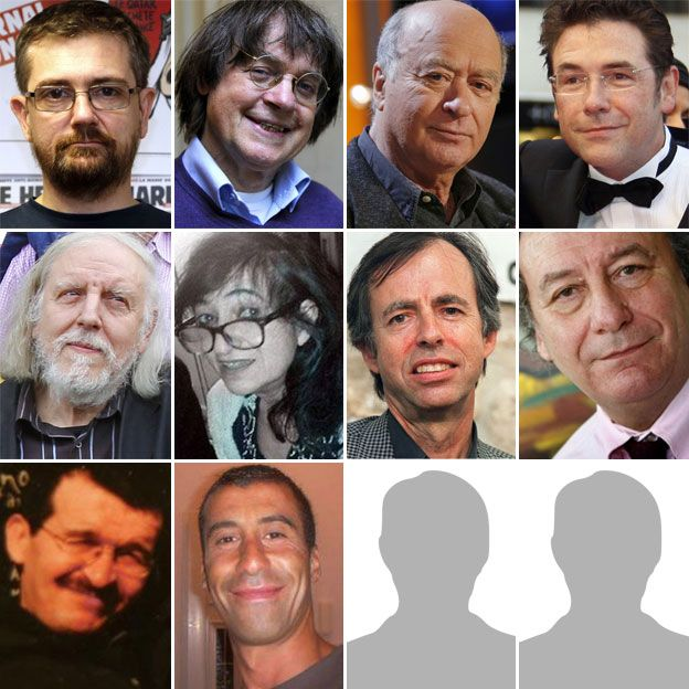 """Top row, from left: Stephane """"Charb"""" Charbonnier, Jean """"Cabu"""" Cabut, Georges Wolinski, Bernard """"Tignous"""" Verlhac. Middle row, from left: Philippe Honore, Elsa Cayat, Bernard Maris, Michel Renaud. Bottom row: Mustapha Ourrad, Ahmed Merabet"""