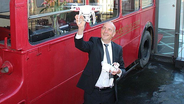 Charles-Christie Webb, of Camden Bus Estate Agents, and his drone