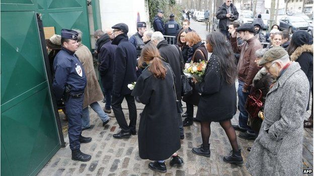 People arrive for the funeral of Elsa Cayat in Montparnasse, 15 January 2015