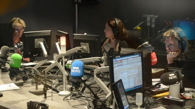 (l-r) Corrie Corfield, Mishal Husain and Sarah Montague during the Today programme broadcast on 10 October 2013