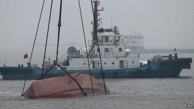 Rescue attempt with overturned Wanshenzhou 67 in Yangtze River, 16 Jan 2015