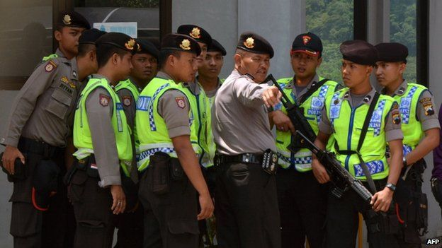 Indonesian police tighten security at the main gate of maximum security prison Nusa Kambangan in Cilacap, Central Java province
