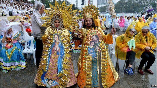 Dancers attend Mass at Quirino grandstand in Rizal Park, Manila, Philippines.