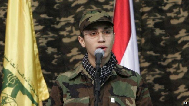 , the son if Imad Mughniyeh, Jihad Mughniyeh speaks during a rally to commemorate his father (22 February 2008)