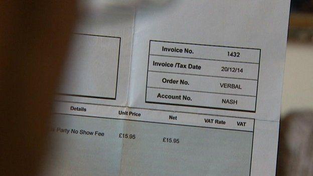 Party no-show invoice