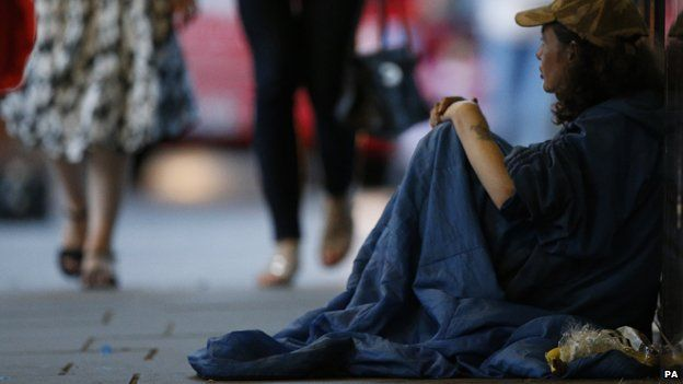 Homeless person on streets of London