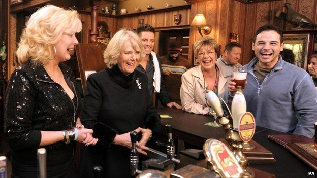 Anne Kirkbride when the Duchess of Cornwall visited the set of Coronation Street