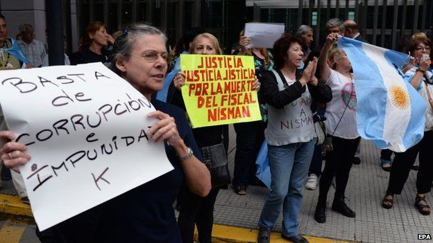 Protest outside Congress in Buenos Aires. 19 Jan 2015