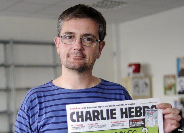 Stephane Charbonnier, golygydd y cylchgrawn ddychanol Charlie Hebdo, gafodd ei ladd ym Mharis