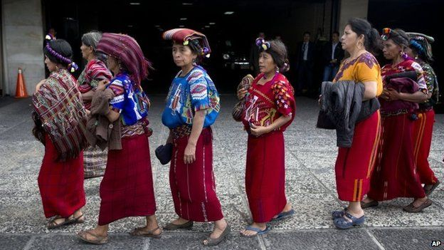 indigenous women arrive for the trial of former police officer Pedro Garcia Arredondo in Guatemala City on 19 January, 2015.
