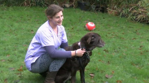 Susan Andresier with the family's pet Labrador