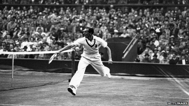 Fred Perry, playing a Davis Cup match against Australia at Wimbledon in 1936