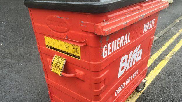 Wheelie bin with parking ticket