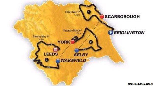 Map of the Tour de Yorkshire