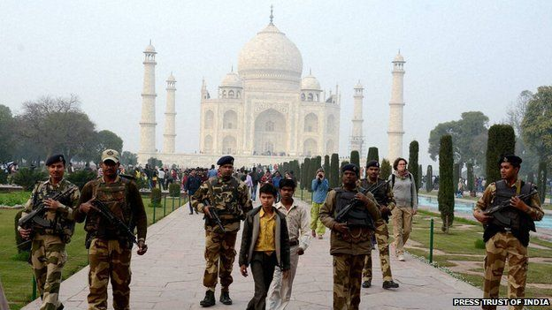 Security at the Taj Mahal in the run up to Mr Obama's visit