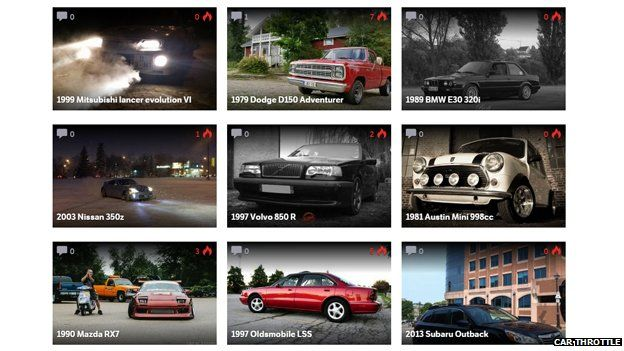 Page from Car Throttle's website