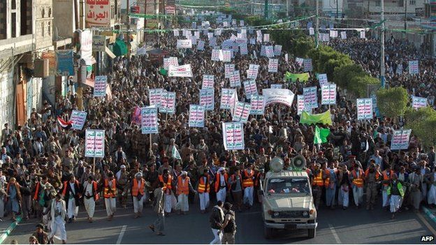 Followers of the Houthi movement march in the Yemeni capital on 23 January 2015