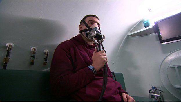 Ben Parkinson in an oxygen chamber
