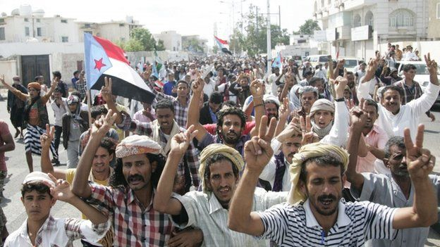 Protests against the Houthis in the southern city of Aden