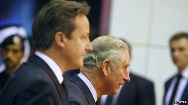 UK PM David Cameron and Prince Charles