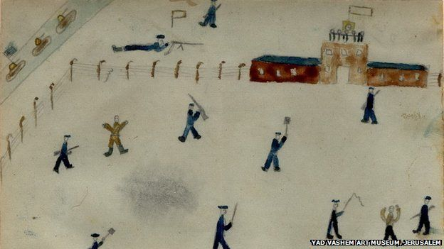 Thomas Geve (Stefan Cohn) (b. 1929), We Are Free, Buchenwald DP camp, 1945, Pencil, coloured pencil and watercolour on paper, 10X15 cm, Collection of the Yad Vashem Art Museum, Jerusalem, Gift of the artist