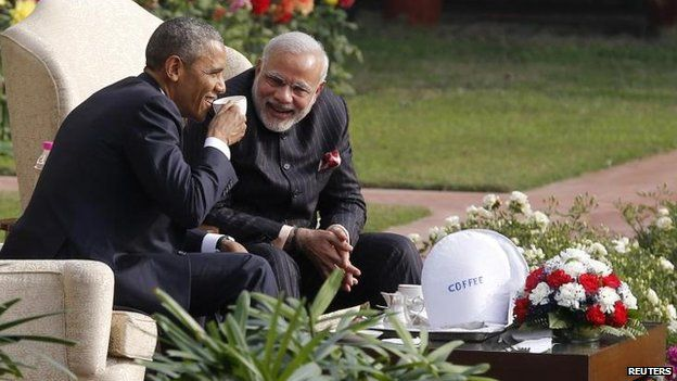 The leaders take tea - or coffee - in the gardens of Hyderabad House, 25 Jan