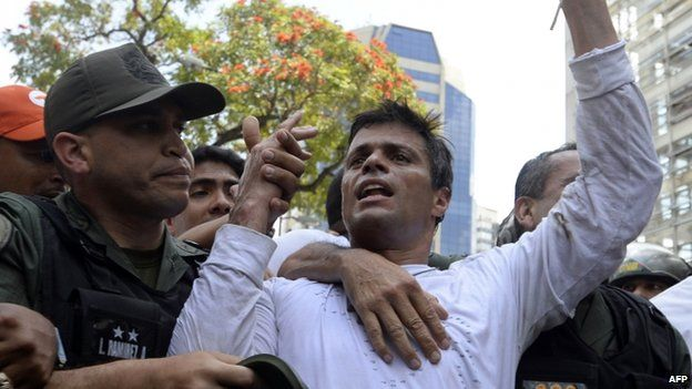 Leopoldo Lopez being arrested, 18 Feb 2014