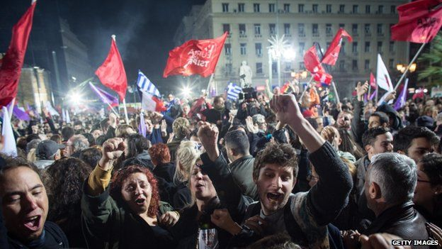 Syriza supporters celebrate in Athens. Photo: 25 January 2015