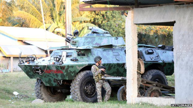 Army armoured vehicles in Mamasapano, Maguindanao Province, Philippines (25 Jan 2015)
