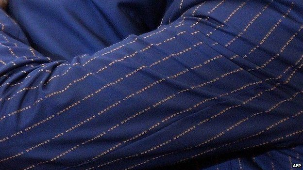 A close up of the suit pattern