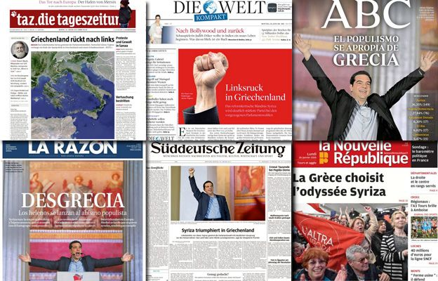 combo picture of European newspapers reacting to Greek vote