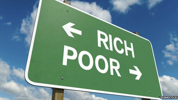 Sign saying rich and poor