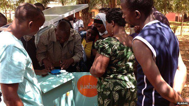 New solar kiosk entrepreneurs being trained by Juabar