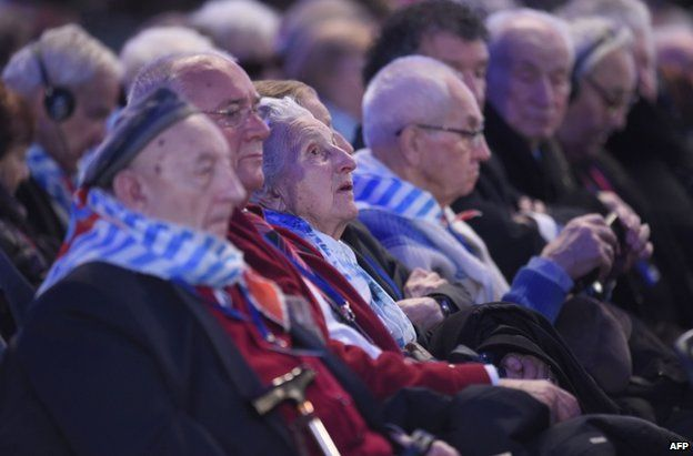 Auschwitz survivors at the 70th anniversary ceremony, 27 January