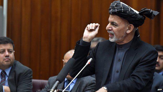 President Ashraf Ghani in Afghan parliament on 20 Jan 2015, presenting cabinet list