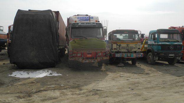 Trucks parked near Kabul, 28 January 2015