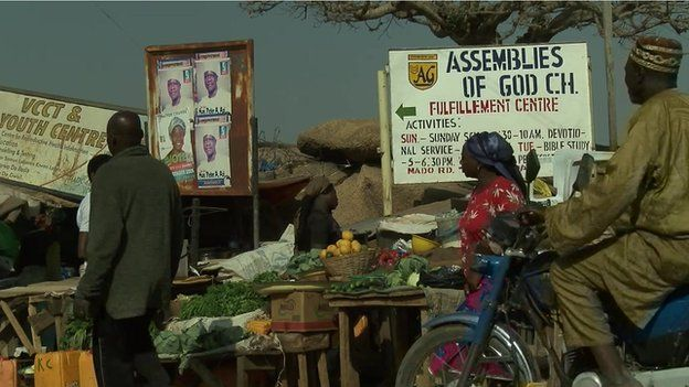 Christian church sign in Jos city, January 2015 election campaign