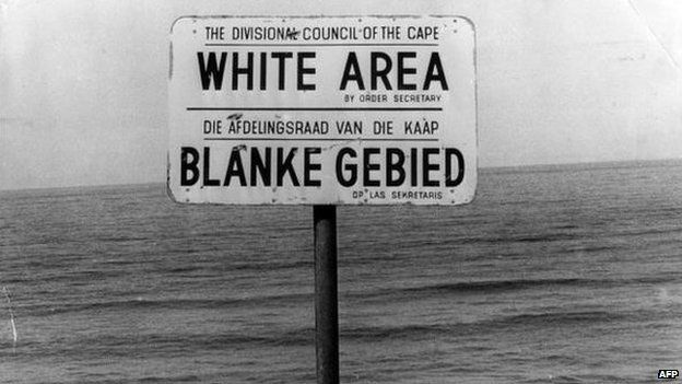 An apartheid notice on a beach near Cape Town, denoting the area for whites only