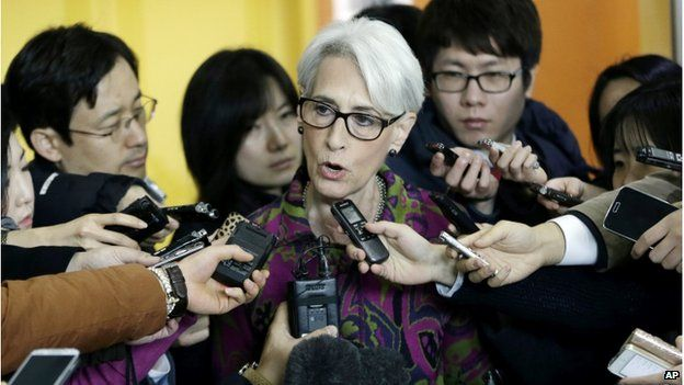 US Undersecretary of State for Political Affairs Wendy Sherman speaks to reporters after her meeting with South Korean Foreign Minister Yun Byung-se to discuss over the North Korean issues at the Foreign Ministry in Seoul, South Korea, Thursday, 29 January 2015