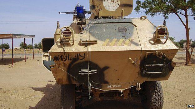 Armoured vehicle of Boko Haram captured by Nigerian troops