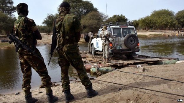 Chadian troops by Lake Chad