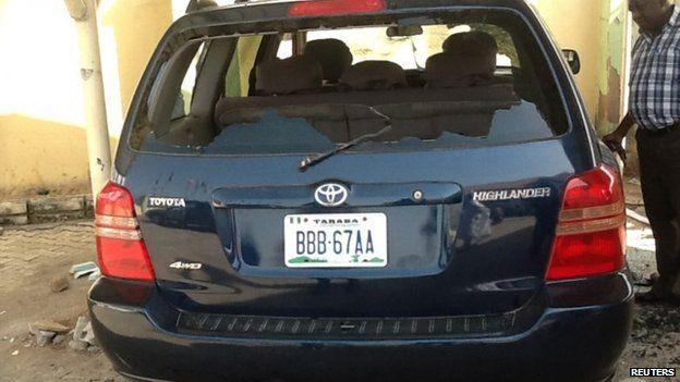 Damaged vehicle belonging to President Jonathan's party