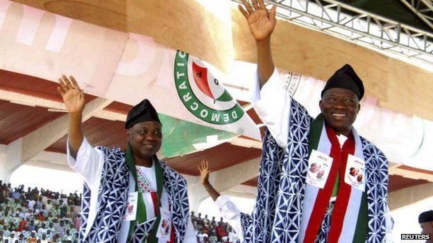 President Goodluck Jonathan (right)
