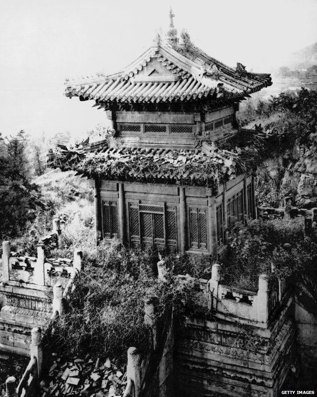 A temple in the ruins of the Old Summer Palace, Beijing, China, circa 1860.