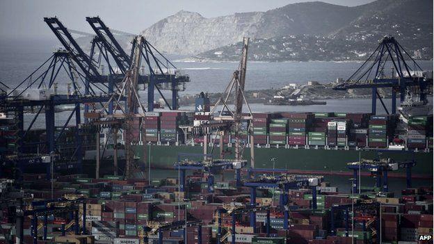 Greece's largest port in Piraeus
